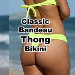 This classic yellow thong bikini features a beautiful low-rise scoop front with high cut thigs and full rear exposing thong backside. Paired with a strapless yellow bandeau bikini top. A beautifully modeled thong swimsuit is truly sexy and a classic design that never goes out of style.