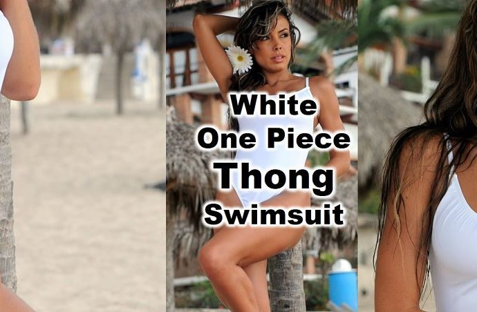 Thong One Piece Swimsuit with sexy high cut thighs detailed in sheer see through when wet fabric.