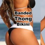 Featured thong bikini. Beautiful curvy model. Banded swimsuit. Black and white. Adjustable.