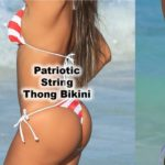 Featured thong bikini in our patriotic red white and blue fabric