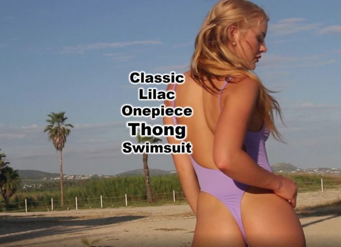 Sexy One Piece Thong Swimsuit in beautiful lilac fabric with high cut thighs and a plunging neckline