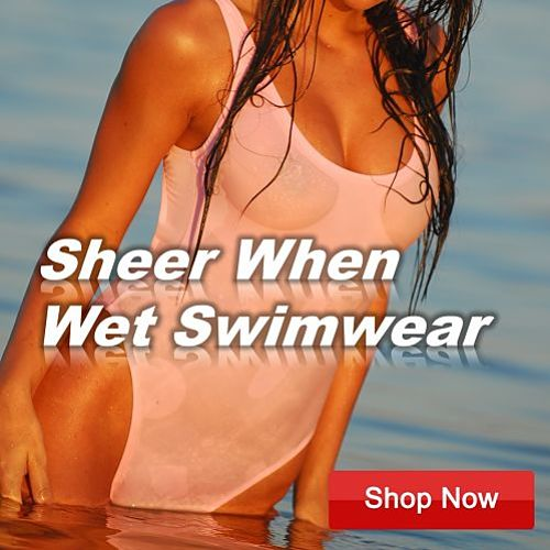 Sheer when wet swimwear. one piece and two piece sheer swimsuits