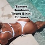Tammy Hembrow loving her life showing off her sexy body in a white thong bikini relaxing in the pool