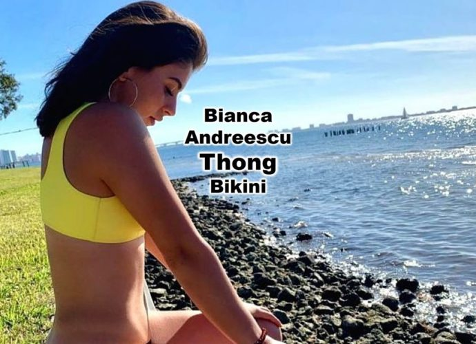 Bianca Andreescu looks amazing in one piece thong swimsuit and a thong bikini maybe Sports Illustrated Swimsuit Issue next