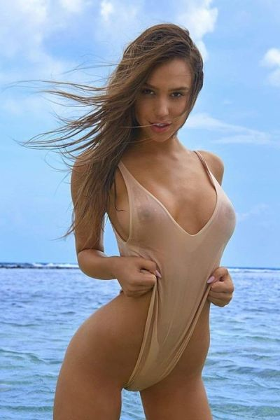 Alexis Ren Sheer See Through One Piece Thong Swimsuit