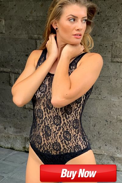sexy sheer black lace one piece swimsuit that is totally see through with only crotch lining.