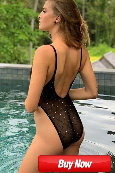 sheer mesh one piece with crotch lining fully sheer swimsuit