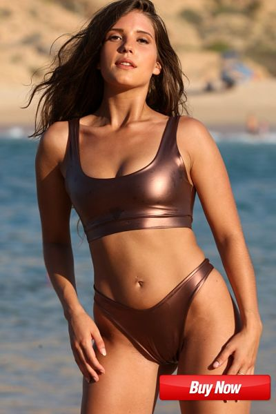 front view of our sexy sport bronze thong bikini