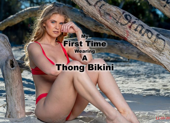 Cathleen wears a thong bikini for the first time.