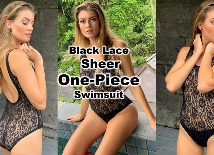 Sexy and oh so sheer and see thru one piece swimsuit crafted from black lace see through fabric with crotch lining only