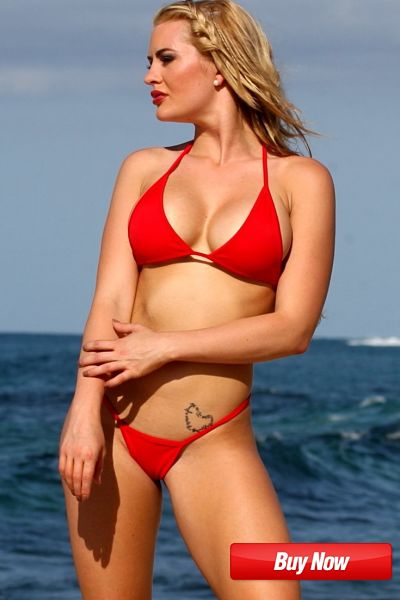 front view of this sexy red g-string bikini worn by our favorite bikini model