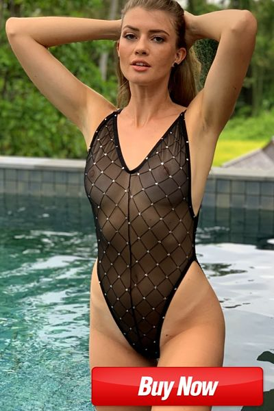 Leave very little to the imagination in this totally sheer black mesh one piece swimsuit