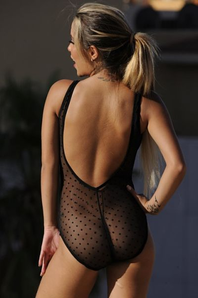 Totally see through black one piece swimsuit. Sheer fabric