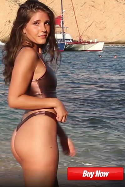 side view of this sexy bronze sport thong bikini with bronze sport halter top