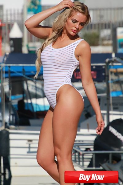 See Through One Piece Swimsuit, White sheer stripes, High Cut Thighs