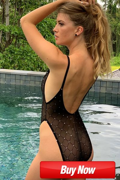 Pool ready, show it all in this sizzling see thru one piece black mesh swimsuit