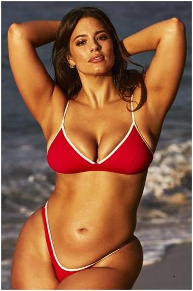 Ashley looks so sexy in this red string beach thong bikini. Its like this tiny two piece swimsuit was made for Miss Graham