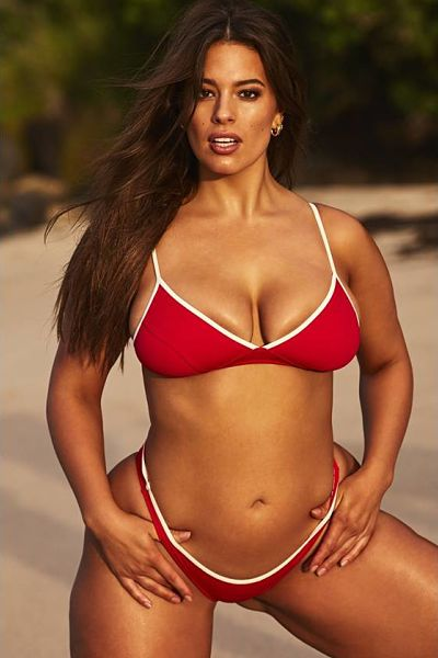 Yikes, here is a sexy shot of Ashley Graham wearing a red sport thong bikini with white outlined trim