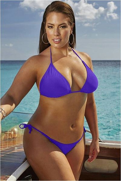 Oh, yes, here is Shley Graham wearing a stunning purple string thong bikini