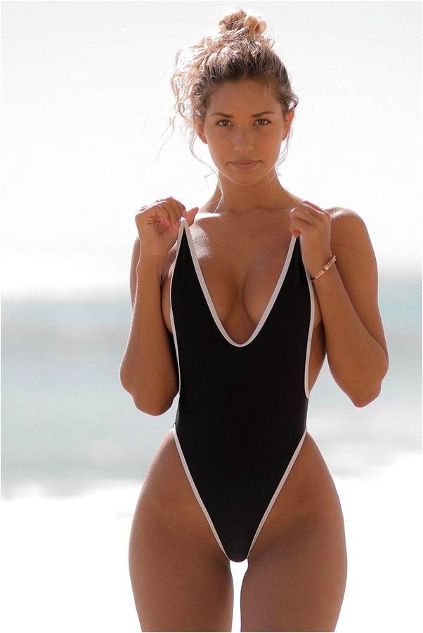 A one pice lack thong one piece swimsuit for Sierra Skye