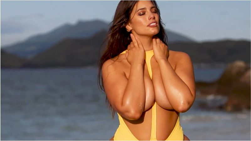 Ashley Graham topless in a sexy one piece topless thong swimsuit