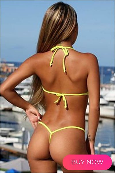 back view of our yellow g-string bikini