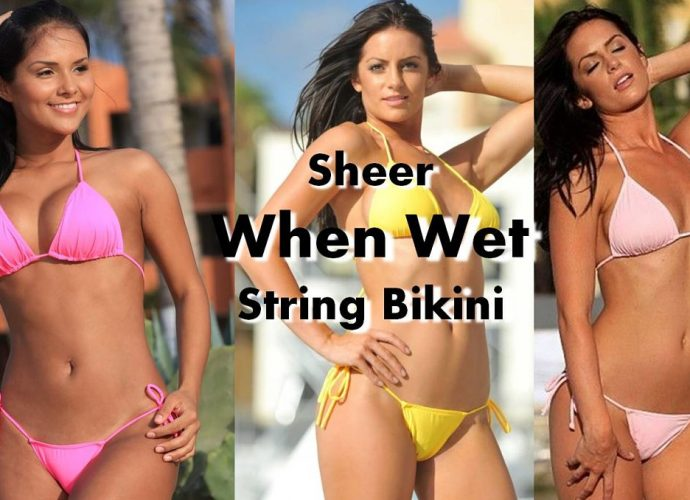 Sheer string bikini. see through when wet two piece swimsuit in three great colours