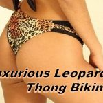 Leopard Print Thong Bikini with Black Accent Panels and Braided Strings