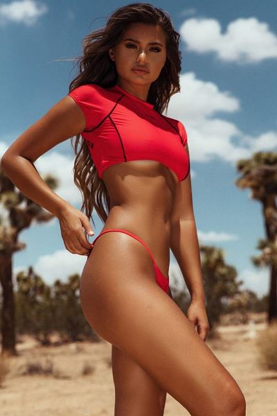 WOW Sofia Jamora in a red sport thong and a sport crop top with some under boob