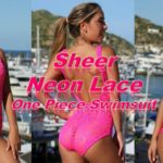 Beautiful lace neon pink one piece see through swimsuit