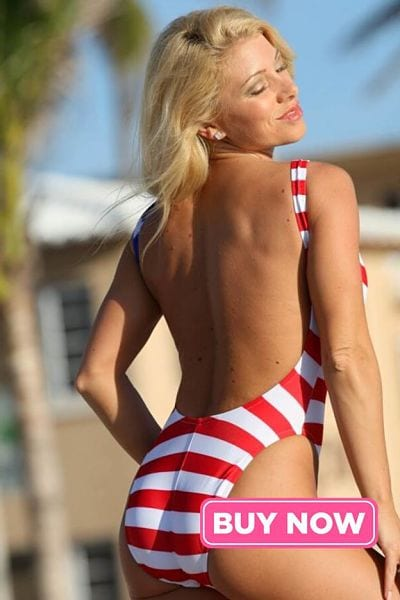 One Piece Stars and Strips Flag Bathing Suit