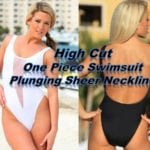 One Piece Swimsuit Plunging Sheer Neckline High Cut Thighs