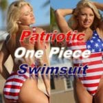 Patriotic one piece swimsuit! This swimsuit has high cut legs / thighs with red and white stripes and blue USA flag label. Low plunging scoop neckline and slimming low scoop back and a hidden shelf bra.