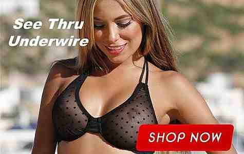 Enjoy the allure of a see thru underwire bikini top- sheer, see thru - underwire support and shaping